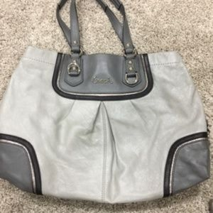 Very cute!! Authentic Coach Purse Gray and Pink